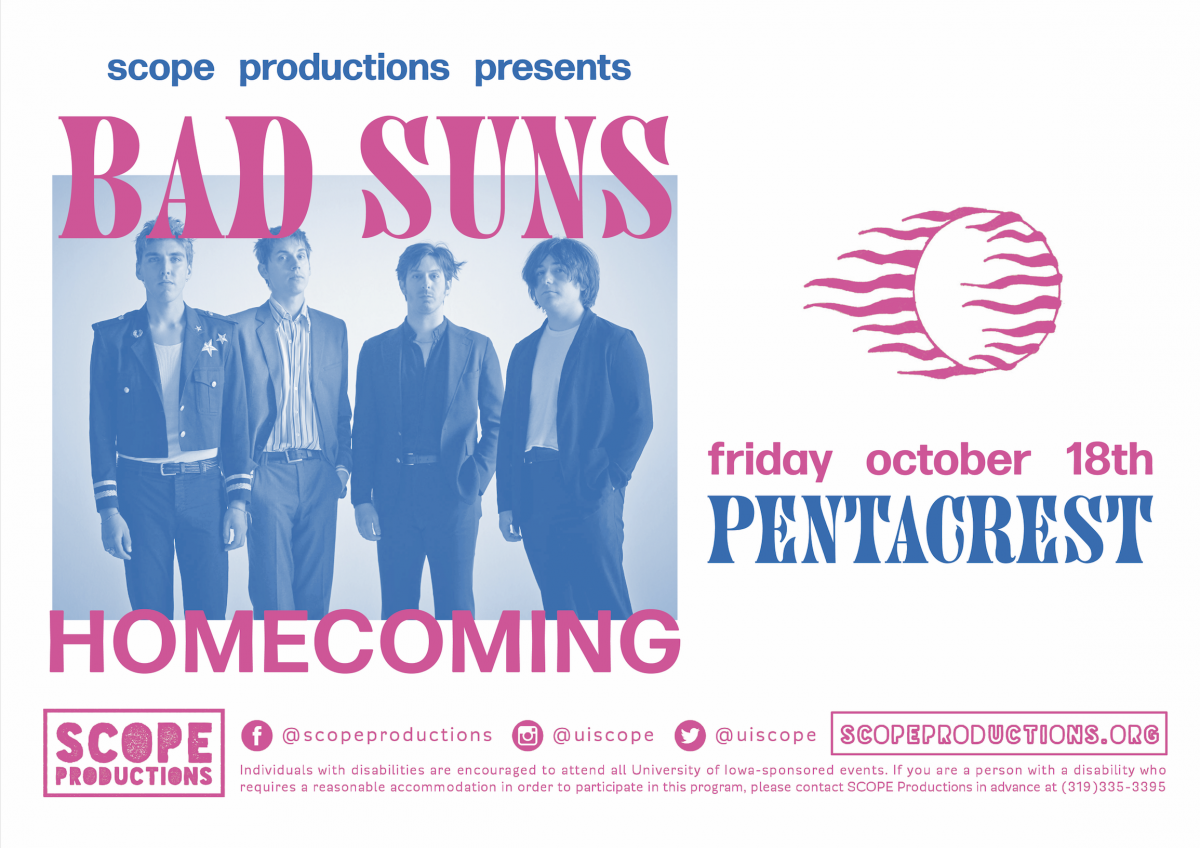 Poster for Homecoming 2019: Bad Suns, please continue reading for specific event information.